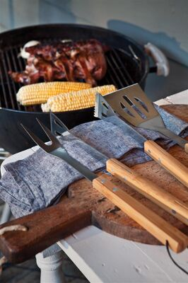 Bamboe barbecue set 3-delig